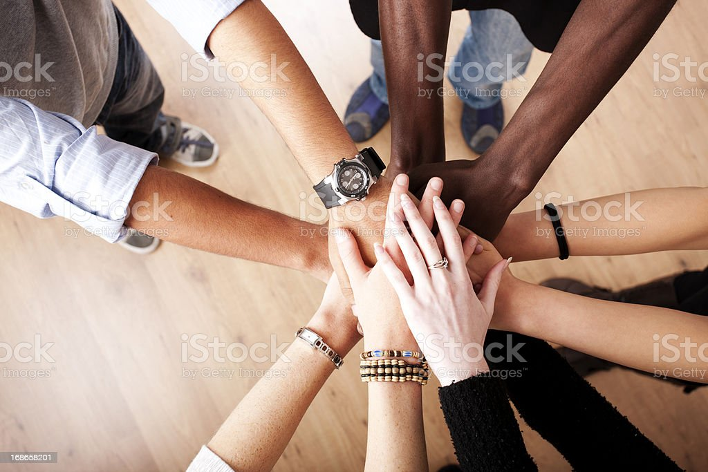 Circle of hands stock photo