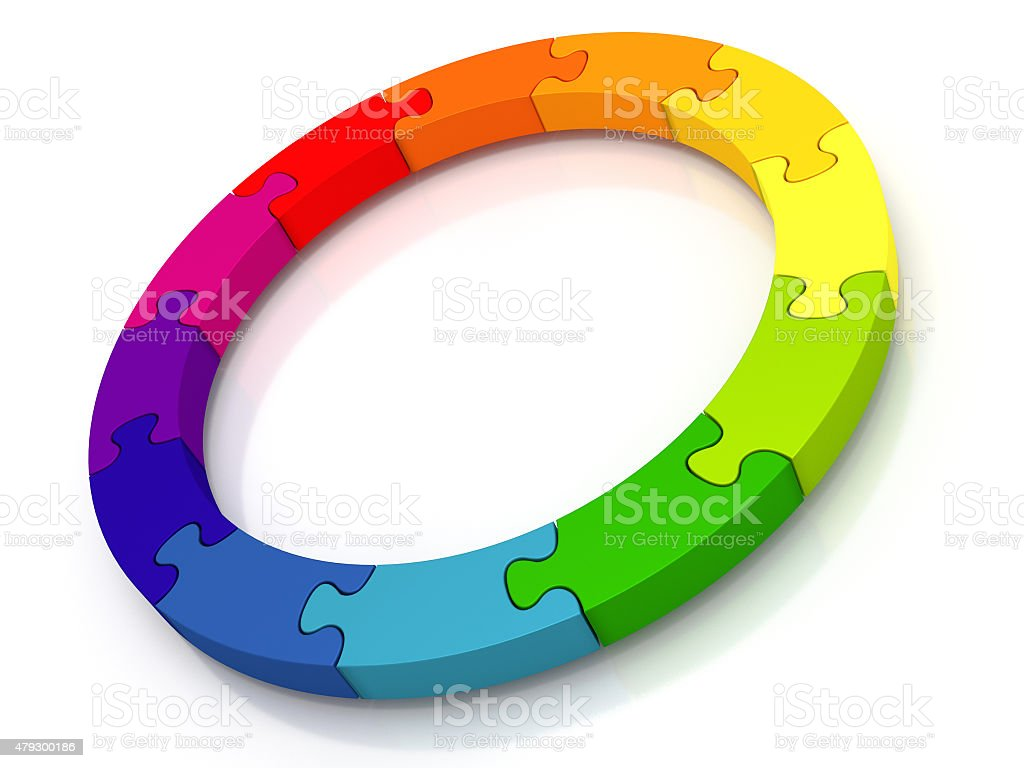Circle of jigsaw pieces stock photo