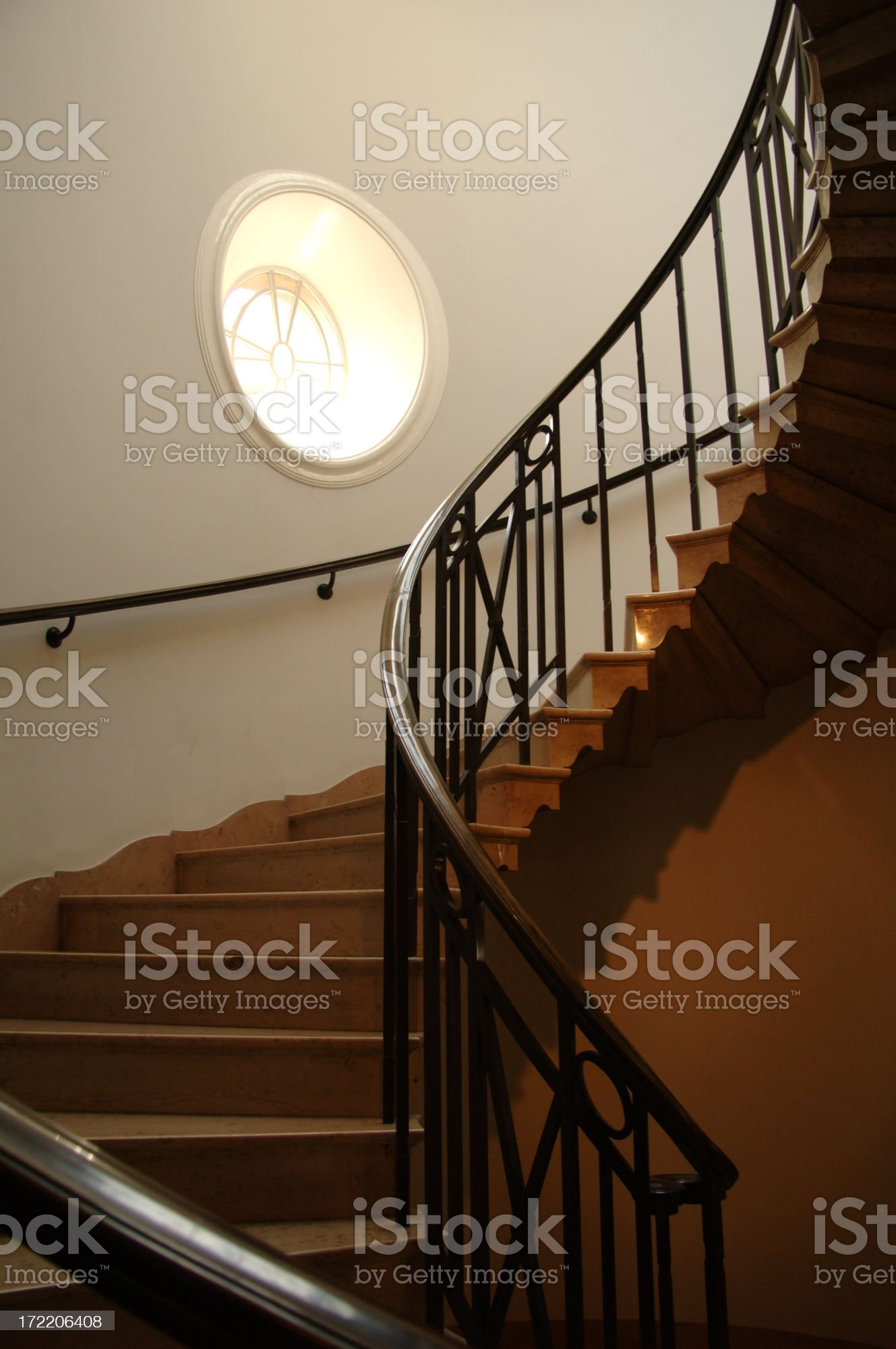 circle of light-spiral staircase royalty-free stock photo