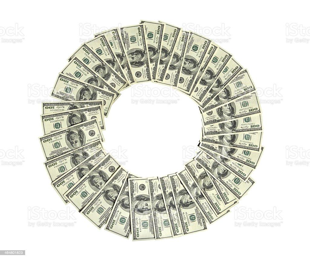 Circle of money stock photo