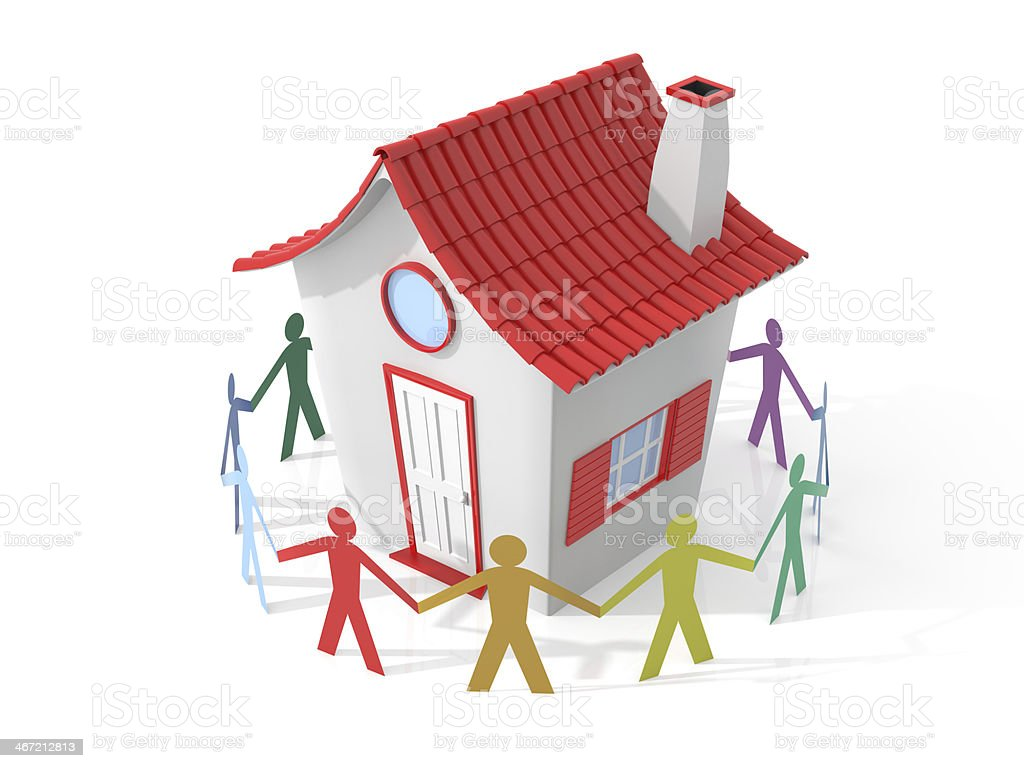 Circle of people around a house stock photo