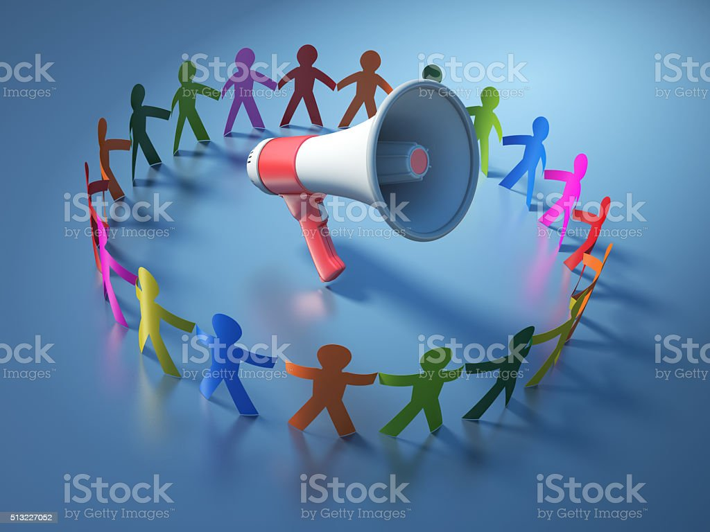 Circle of People with Megaphone stock photo
