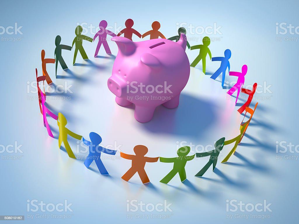 Circle of People with Piggy Bank stock photo
