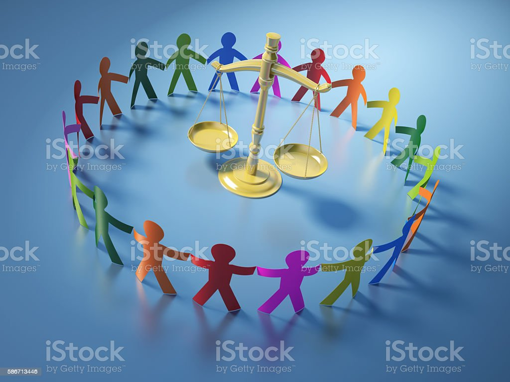 Circle of People with Scales of Justice stock photo