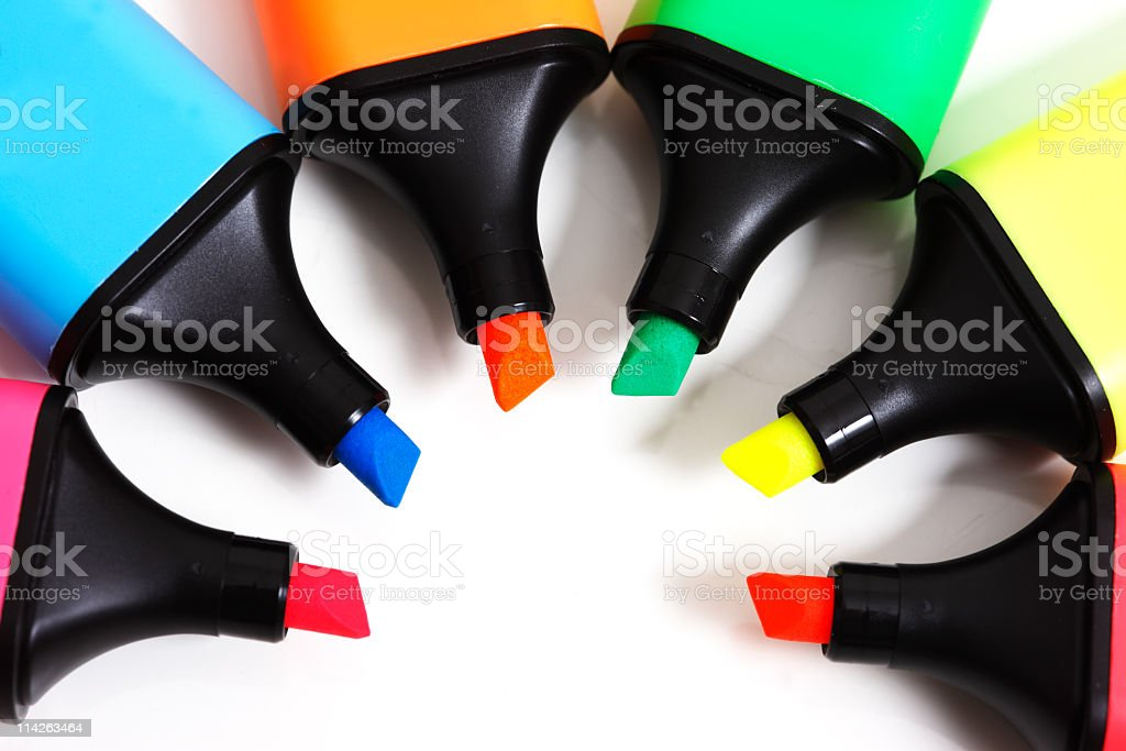 Circle of text markers stock photo