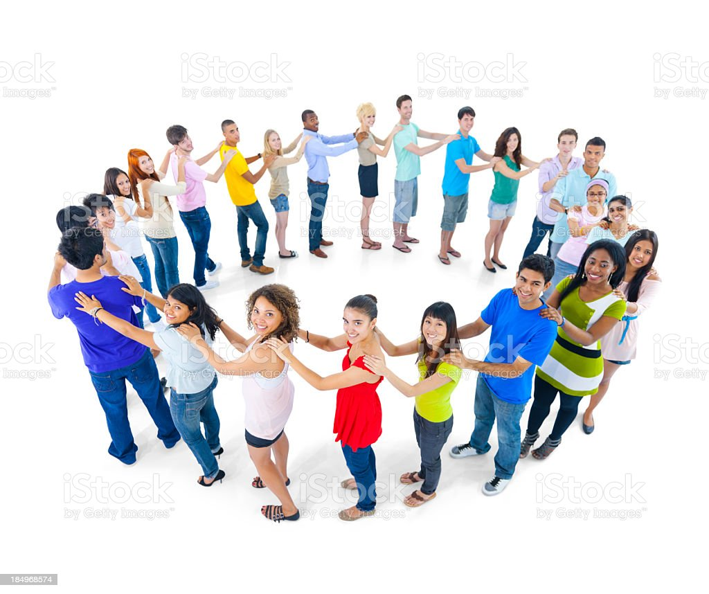 Circle of young people royalty-free stock photo