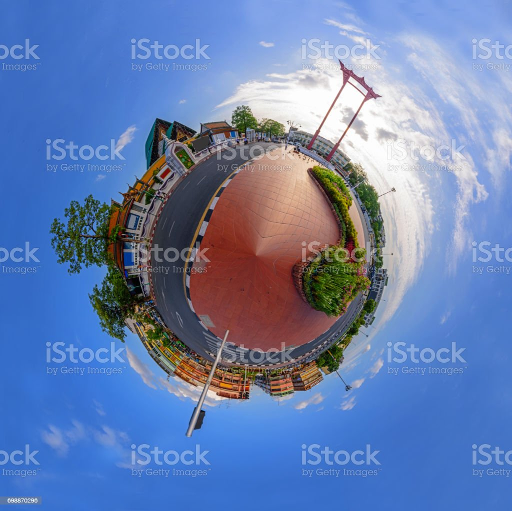 Circle panorama of Giant swing landmark in the city stock photo