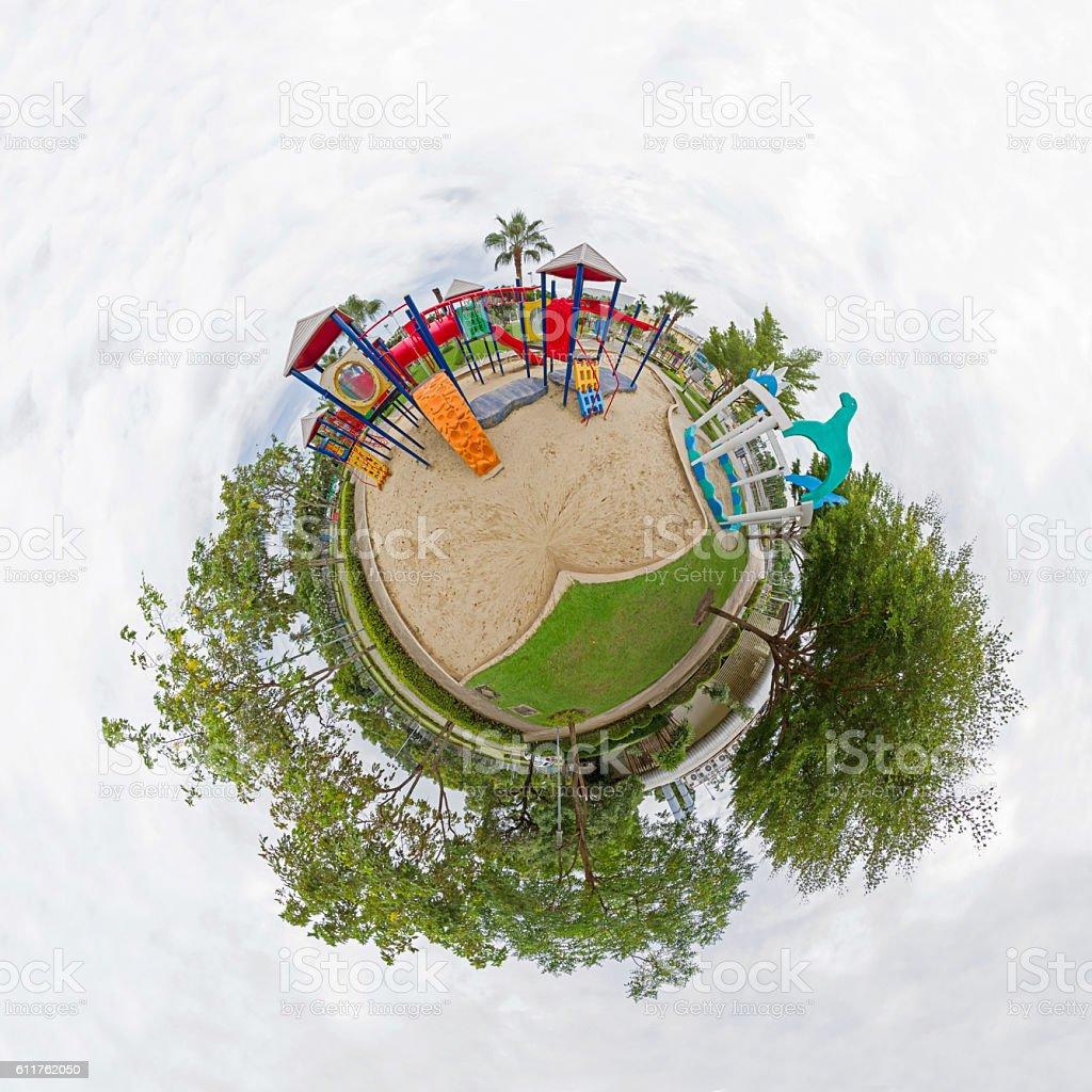 Circle panorama of playground stock photo