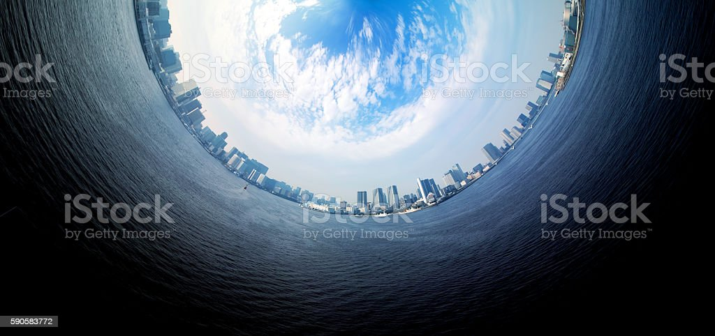 Circle panorama of urban city skyline stock photo