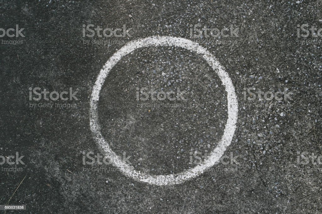Circle pitch on cement stock photo
