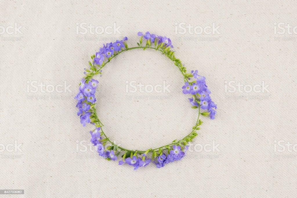 Circle purple flowers wreath of Duranta erecta L. stock photo
