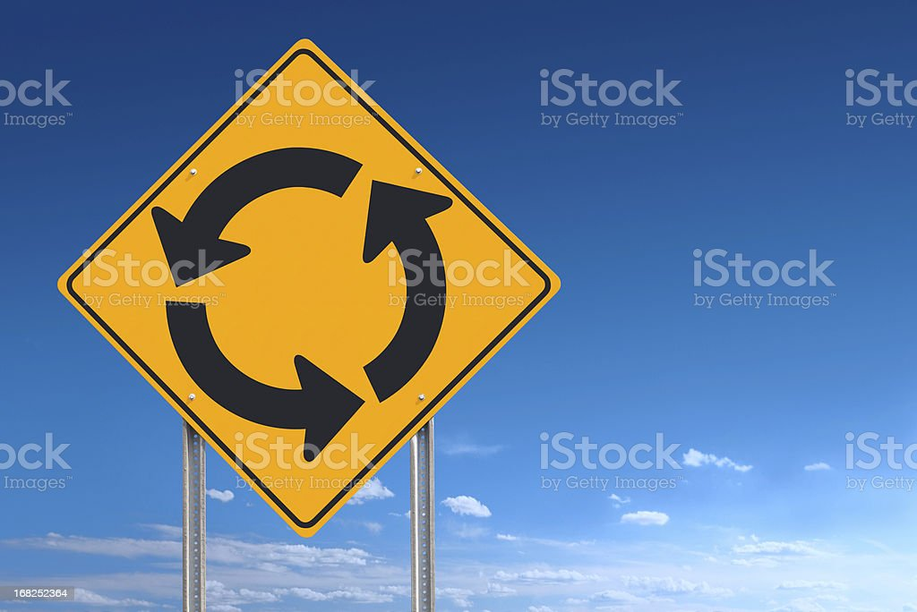 Circle Roundabout Road Sign Post Over Blue Sky Background stock photo