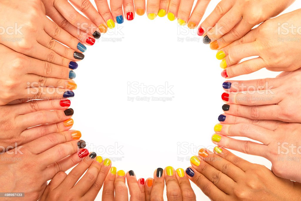 Circle Shape with human fingers stock photo