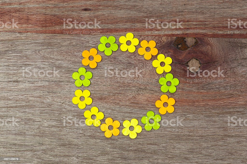 Circle Shaped Love Flowers Valentines Day Old Vintage Wooden Tab stock photo
