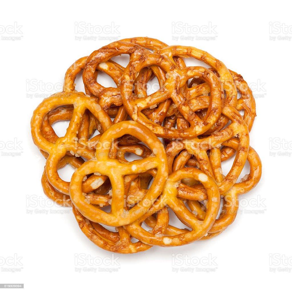 Circle shaped salty pretzels. stock photo