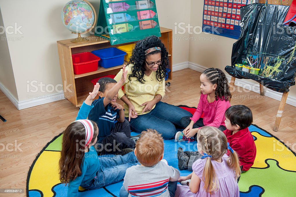 Circle Time in Class stock photo