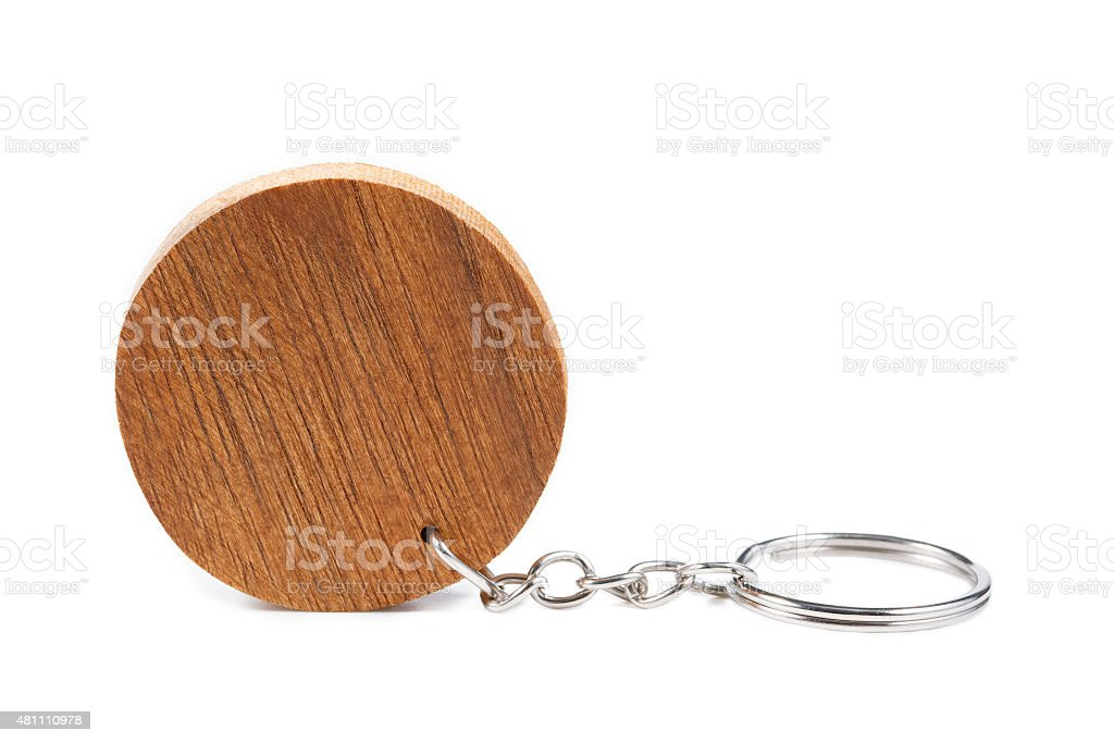 Circle wooden key ring isolated on white stock photo