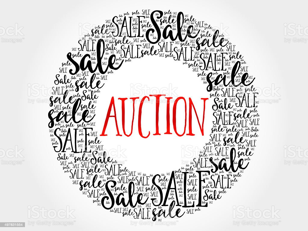 AUCTION circle word cloud stock photo