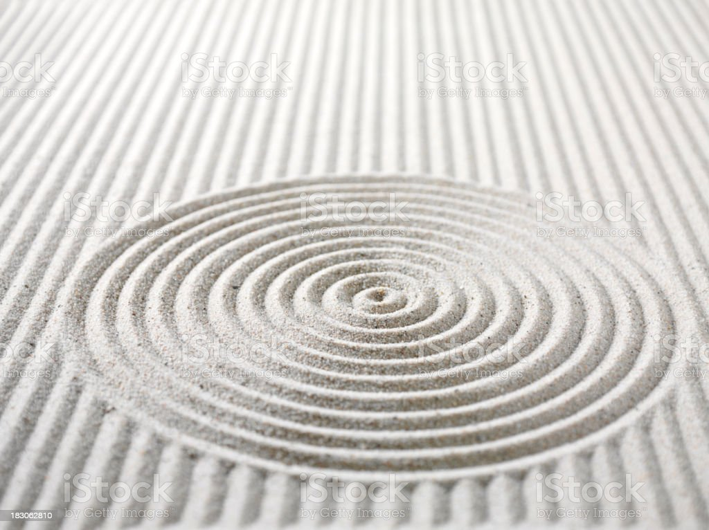 Circles and Lines in Sand stock photo