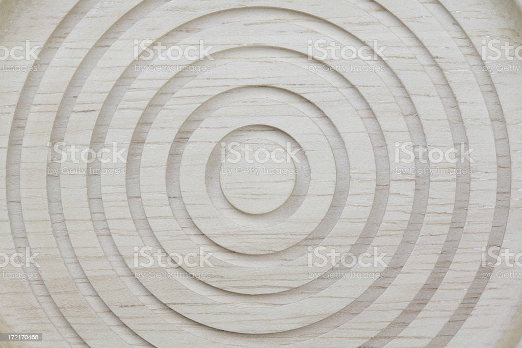 Circles carved in wood royalty-free stock photo