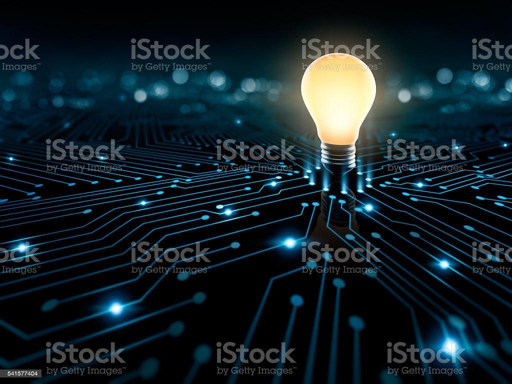 Circuit and Light Bulb stock photo