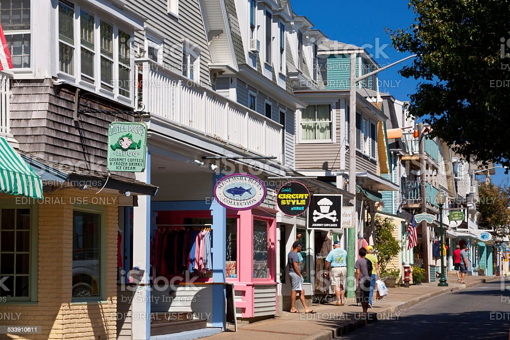 Circuit Avenue in Oak Bluffs, Martha's Vineyard, Massachusetts, USA. stock photo