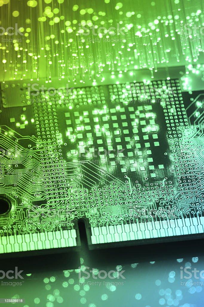 Circuit Board and Fiber optics royalty-free stock photo