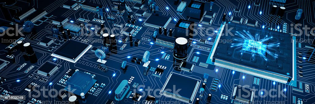 Circuit Board. Blue. stock photo