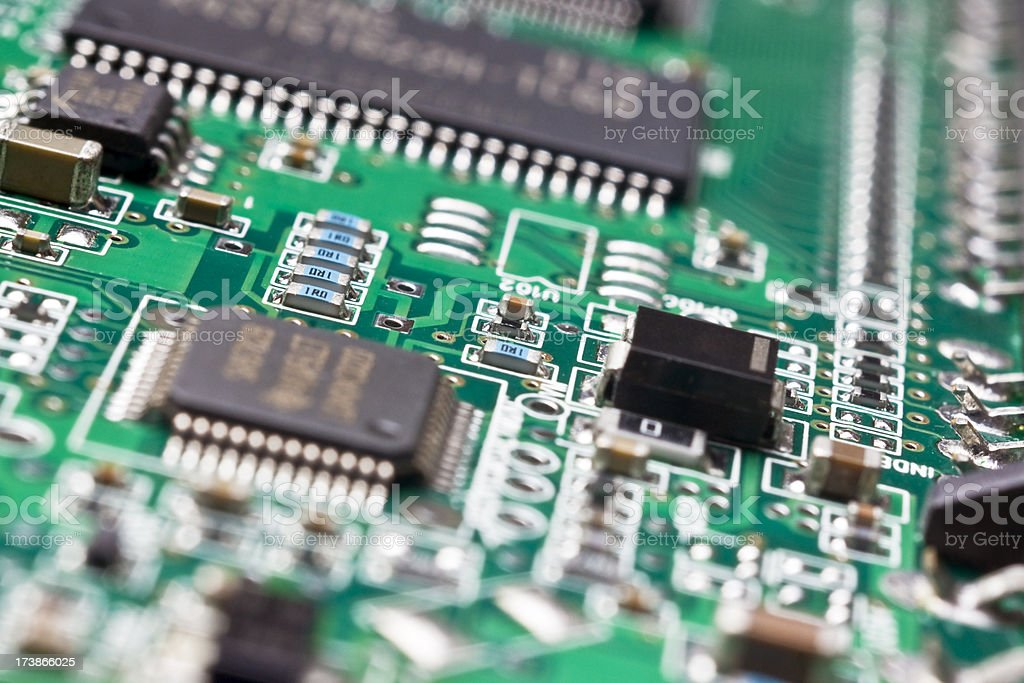 Circuit board close up stock photo