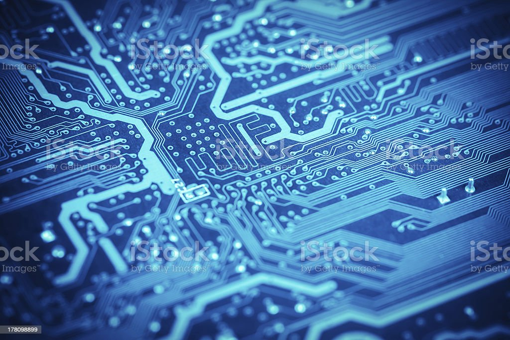 circuit board closeup stock photo
