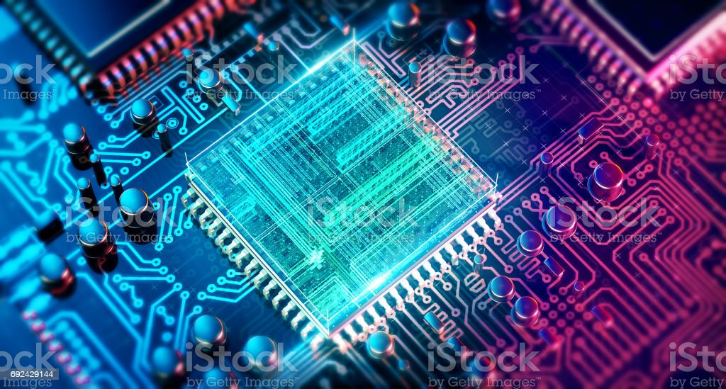 Circuit board. Electronic computer hardware technology. Motherboard digital chip. Tech science EDA background. Integrated communication processor. Information CPU engineering 3D background stock photo