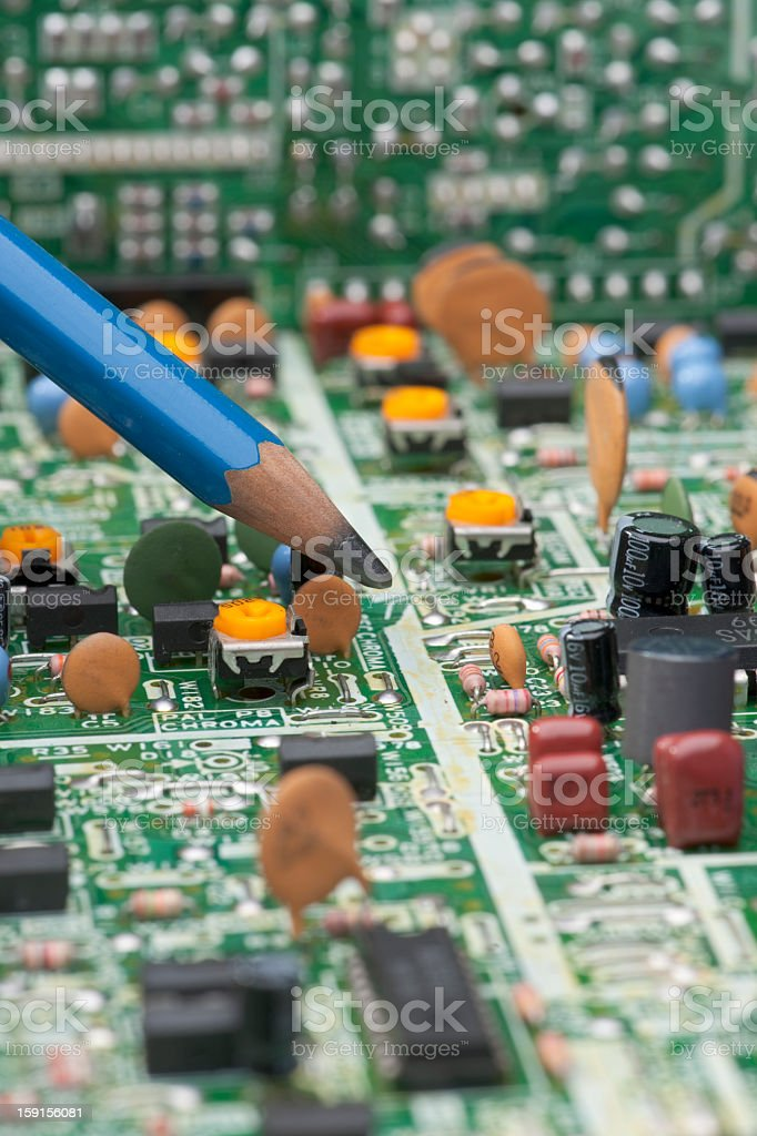 Circuit Board Populated & Back Plane with 6B Pencil Vertical stock photo