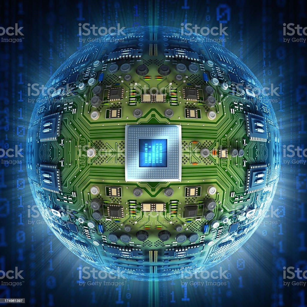 Circuit board sphere stock photo