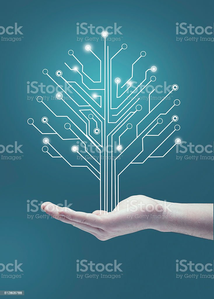 Circuit board tree stock photo
