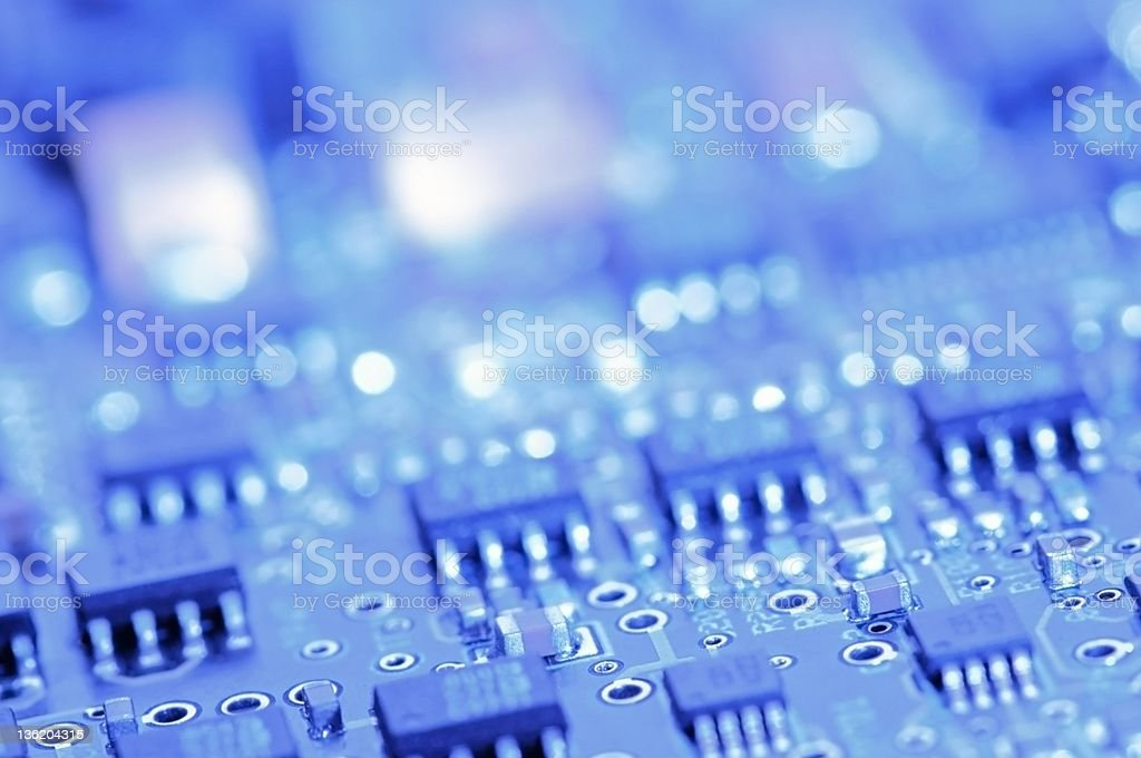 Circuit board with components stock photo