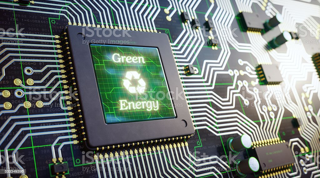 Circuit Board With Ecology Message stock photo