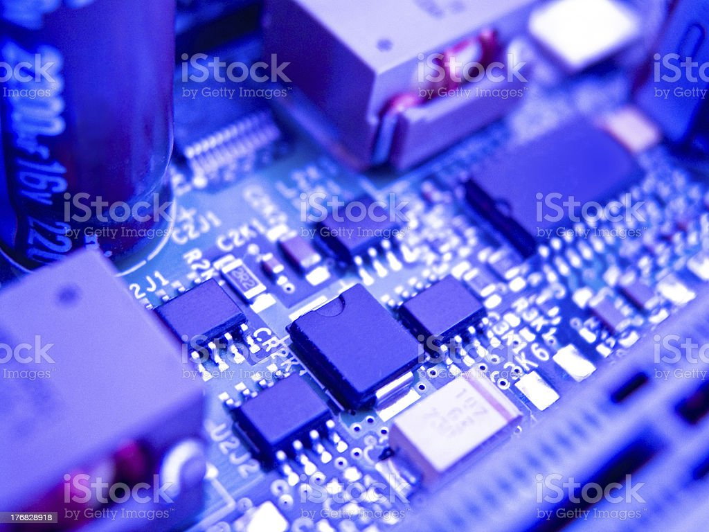 Circuit board with elements royalty-free stock photo