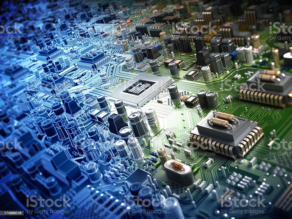 Circuit board with processor stock photo