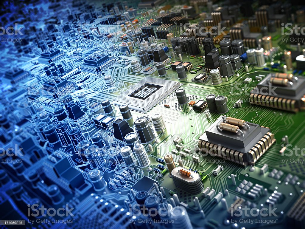 Circuit board with processor stock photo
