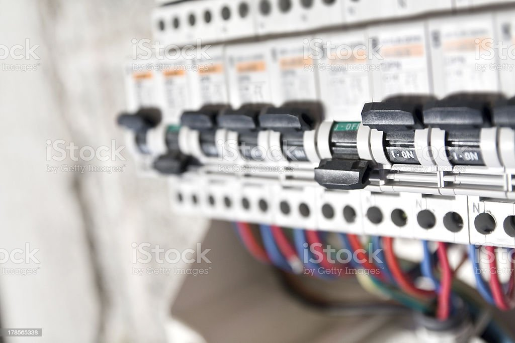 Circuit breaker installation close up stock photo