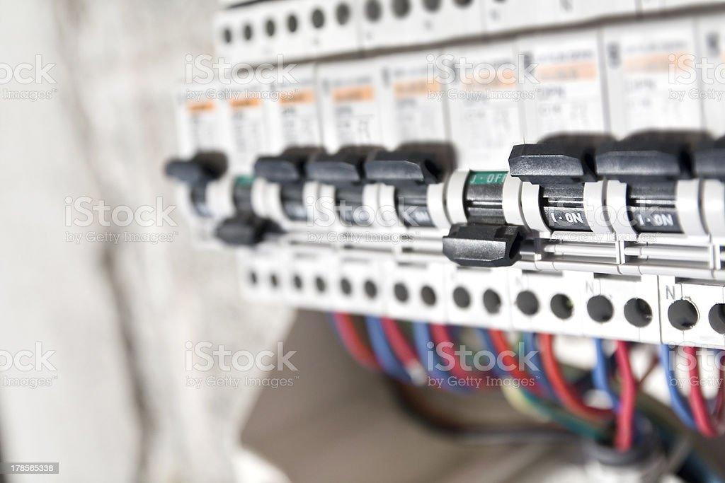 Circuit breaker installation close up stock photo