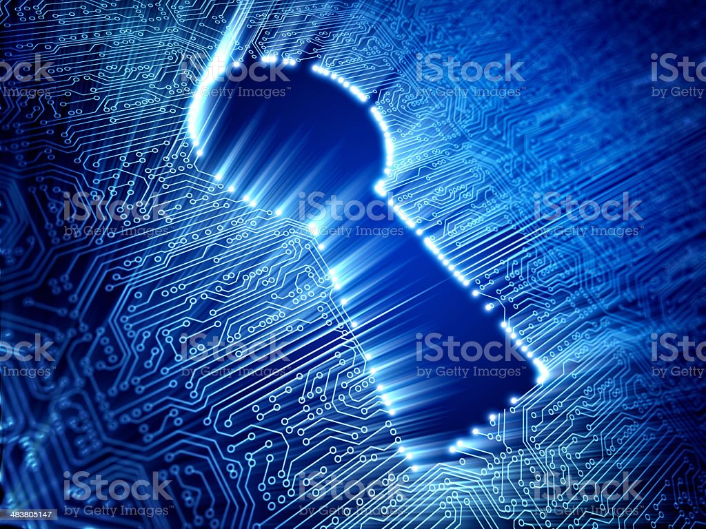 Circuit cyber security concept with lock stock photo