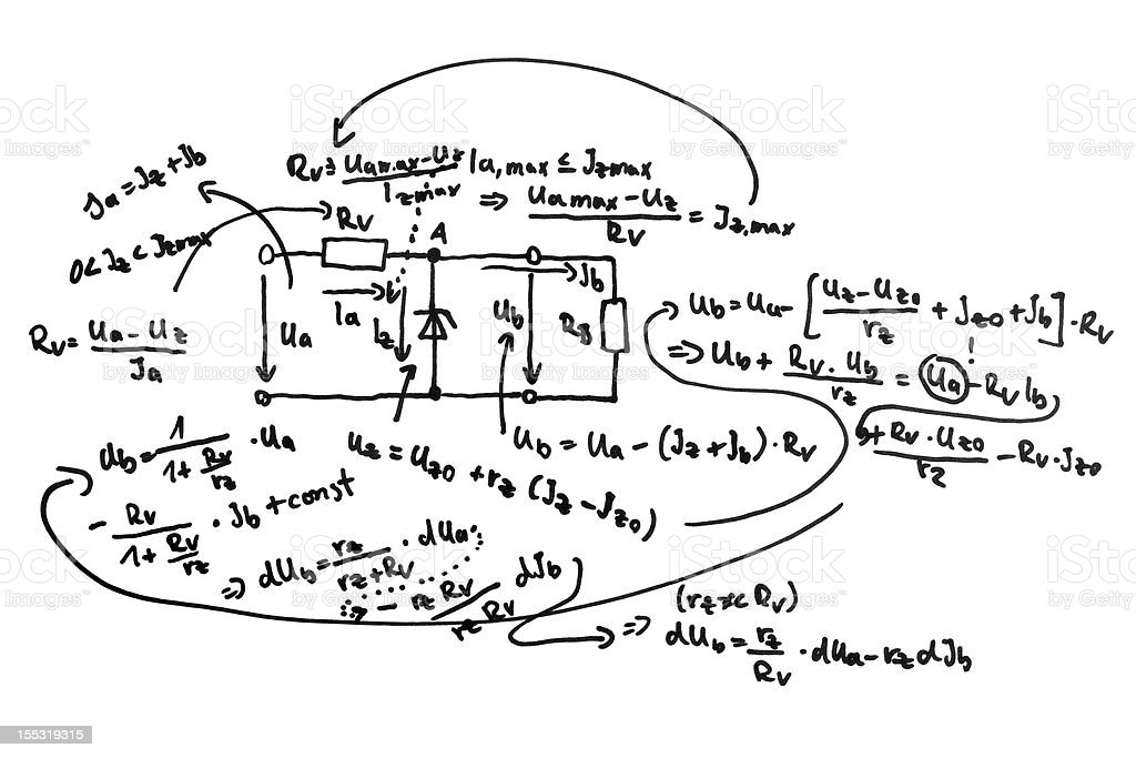 Circuit diagram and equations royalty-free stock photo