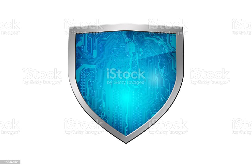 Circuit Shield - Security System - Isolated stock photo
