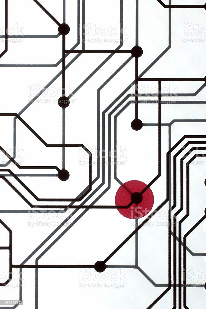 Circuit With Red Dot #2 royalty-free stock photo