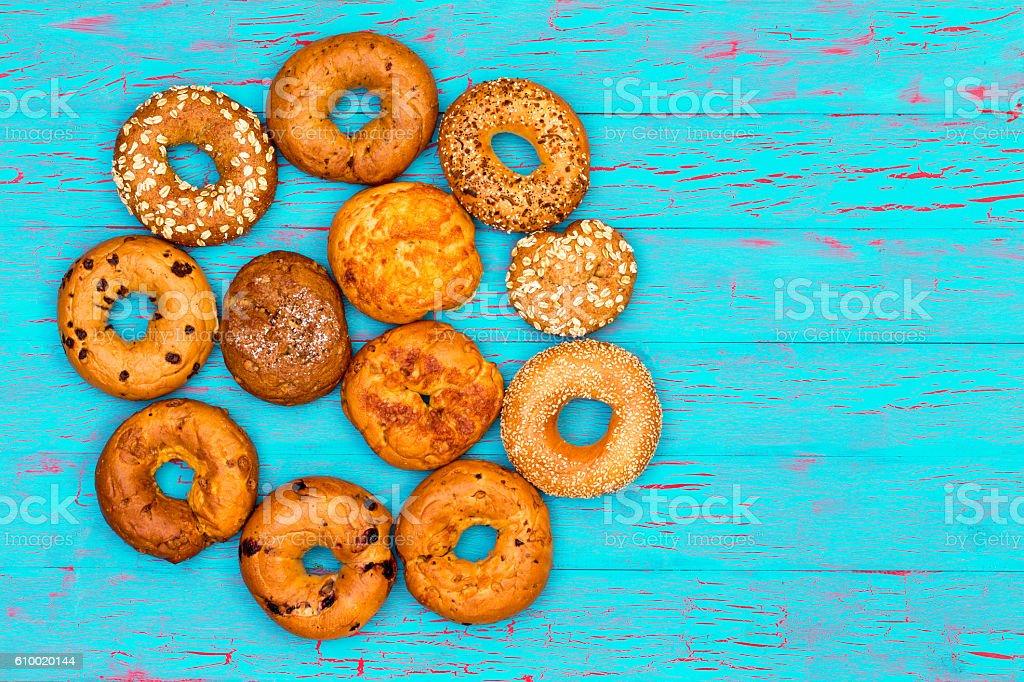 Circular arrangement of freshly baked bagels stock photo