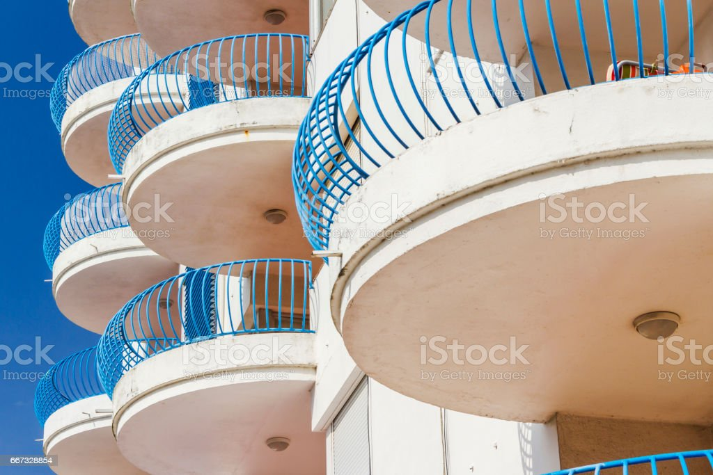 Circular balconies in a building stock photo