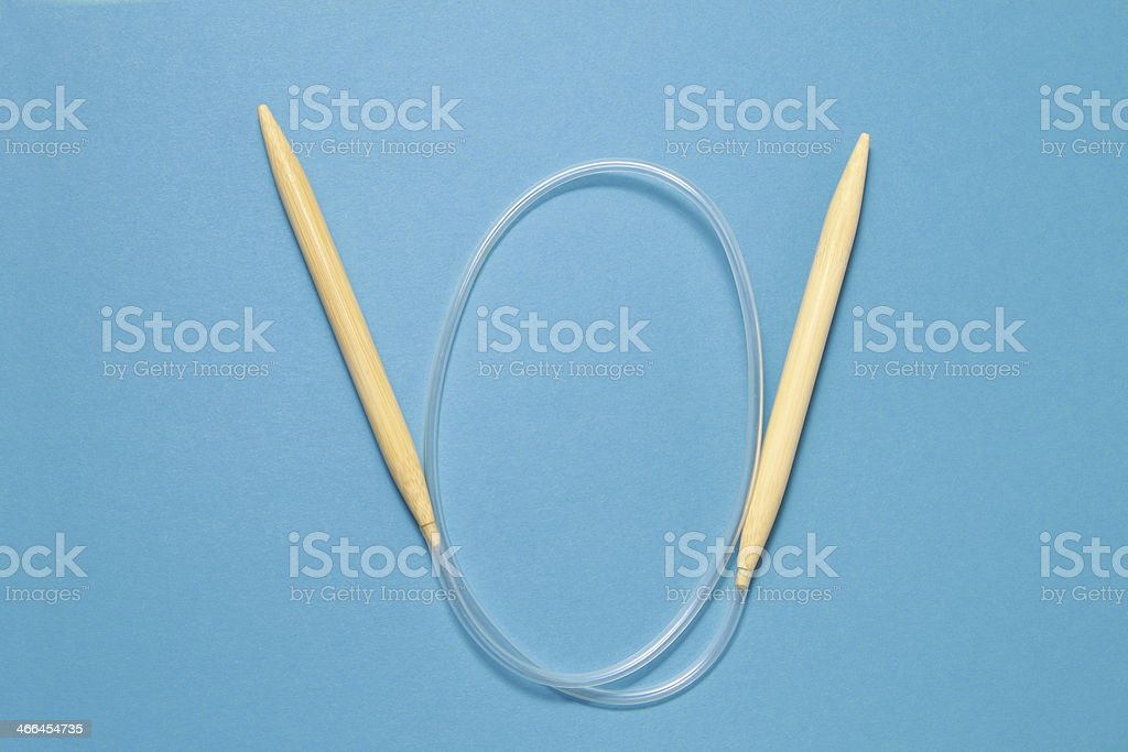 Circular bamboo knitting needles stock photo