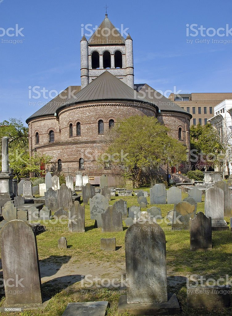 Circular Church and graveyard royalty-free stock photo