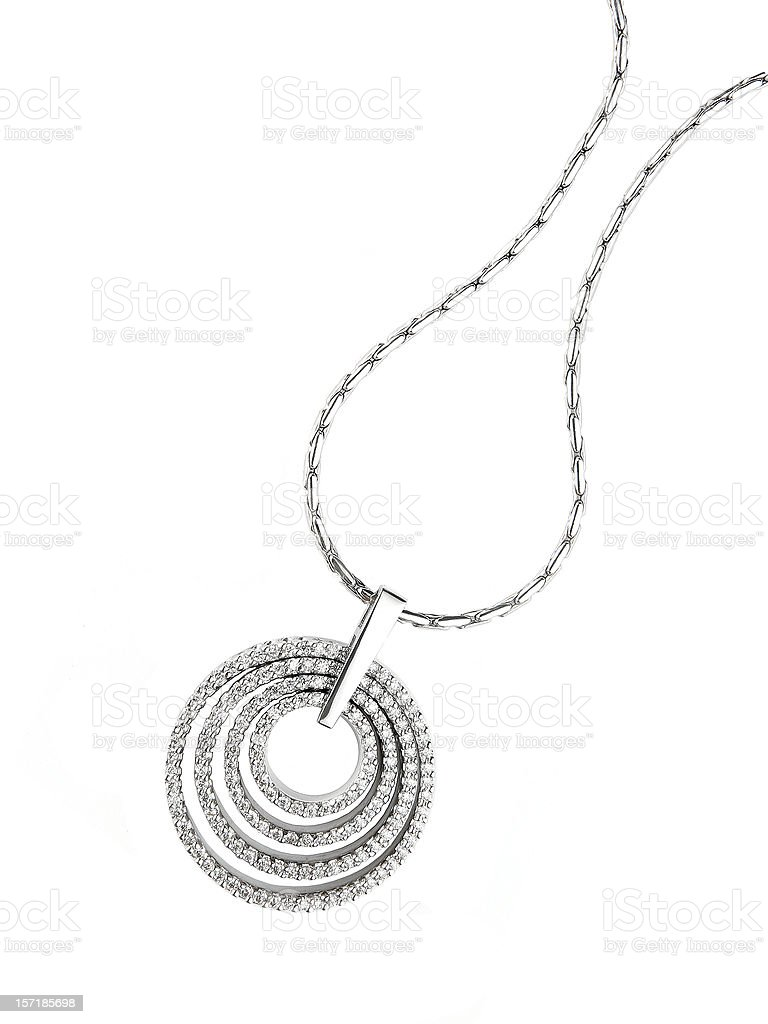 Circular diamond pendant necklace isolated on white stock photo